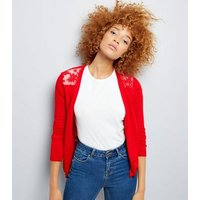 Red Lace Back Cardigan New Look