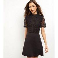 Black Lace Frill Trim Skater Dress New Look