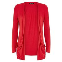 Red Double Pocket Cardigan New Look