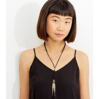 Black Layered Tassel Drop Necklace New Look