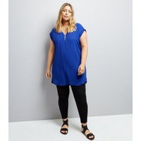 Curves Blue Zip Neck Tunic Top New Look