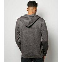 Grey Marl Zip Front Hoodie New Look