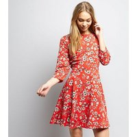 Red Floral Print Skater Dress New Look