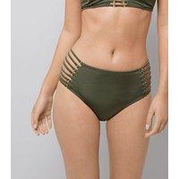 Khaki Lattice Side High Waist Bikini Bottoms New Look