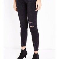 Black Ripped Fray Hem Jenna Jeans New Look