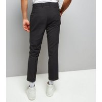 Mens Navy Pinstripe Cropped Slim Leg Tailored Trousers New Look