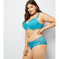 Curves Petrol Blue Mesh And Lace Trim Bra New Look