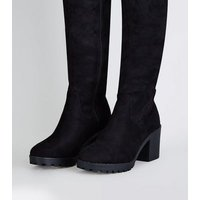 Black Suedette Over The Knee Chunky Boots New Look