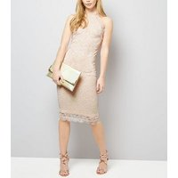 AX Paris Pale Pink Lace High Neck Dress New Look