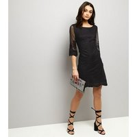 Mela Black Mesh Embroidered Sleeve Mini Dress New Look