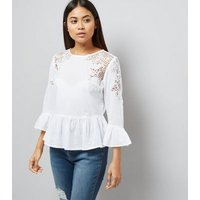 Petite White Cut Out Lace Frill Trim Top New Look