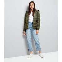 Khaki Lightweight Puffer Jacket New Look