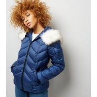 Navy Faux Fur Trim Hooded Chevron Puffer Jacket New Look