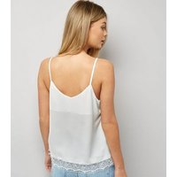 White Lace Trim Cami Top New Look