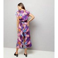 Purple Floral Print Wrap Front Culotte Jumpsuit New Look