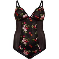 Curves Black Floral Embroidered Mesh Bodysuit New Look