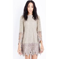MelaMela Cream Floral Lace Drop Waist Dress New Look