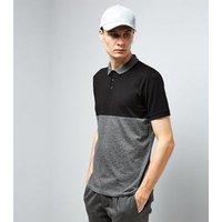 Black Colour Block Polo Shirt New Look