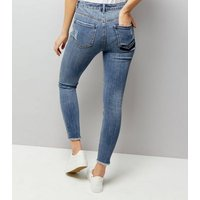 Blue Gem Detail Ripped Skinny Jenna Jeans New Look