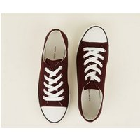 Burgundy Canvas Stripe Sole Trainers New Look