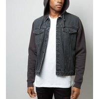 Black Jersey Sleeve Denim Jacket New Look