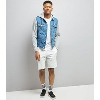 Blue Jersey Sleeve Denim Jacket New Look