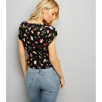 Motel Black Floral Print Wrap Front Top New Look