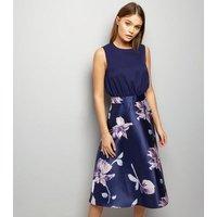 AX Paris Blue Floral Print Skater Skirt Dress New Look