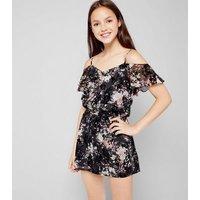 Teens Floral Print Flocked Playsuit New Look