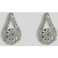 Silver Diamante Teardrop Stud Earrings New Look