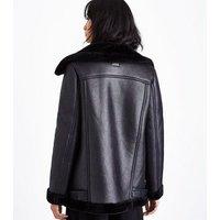 Black Faux Fur Lined Aviator Jacket New Look