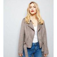 Grey Suedette Biker Jacket New Look
