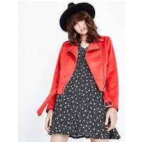 Red Suedette Biker Jacket New Look