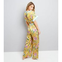 Yellow Satin Floral Lounge Jumpsuit New Look