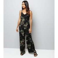 Petite Black Floral Print Wide Leg Jumpsuit New Look