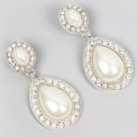 Silver Diamante Pearl Drop Earrings New Look