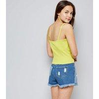 Teens Yellow Ribbed Lattice Front Cami New Look