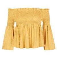 Yellow Shirred Bell Sleeve Bardot Neck Top New Look