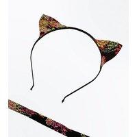 Black Floral Cat Headband and Choker Set New Look
