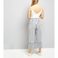 White Tie Waist Stripe Cropped Trousers New Look