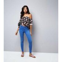 Pink Vanilla Black Floral Print Bardot Neck Top New Look