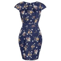 Blue VanillaBlue Vanilla Navy Floral Print Tulip Dress New Look