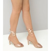 Wide Fit Nude Satin Tie Up Strappy Heels New Look