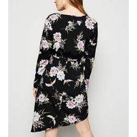 Petite Black Floral Asymmetric Wrap Dress New Look