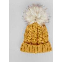Yellow Faux Fur Pom Pom Bobble Hat New Look