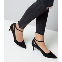 Black Suedette Kitten Heel Pointed Court Shoes New Look