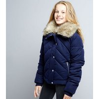 Teens Navy Chevron Panel Quilted Jacket New Look