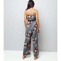 Petite Grey Floral Print Wrap Front Jumpsuit New Look