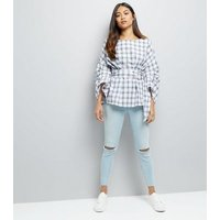 Petite White Check Ring Belt Ruched Sleeve Top New Look