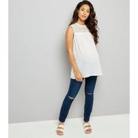 Maternity Dark Blue Under Bump Ripped Knee Jeans New Look